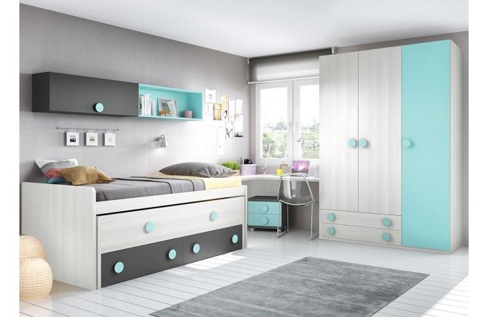 Dormitorio juvenil moderno con cama compacta
