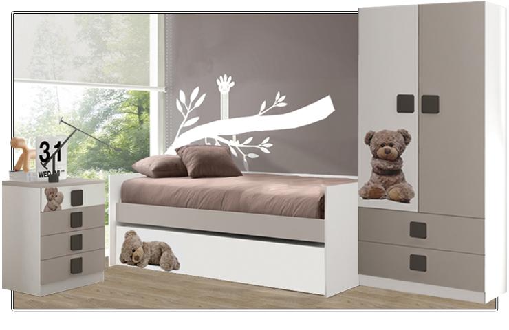 Dormitorio Juvenil decorado con motivos de oso de peluche