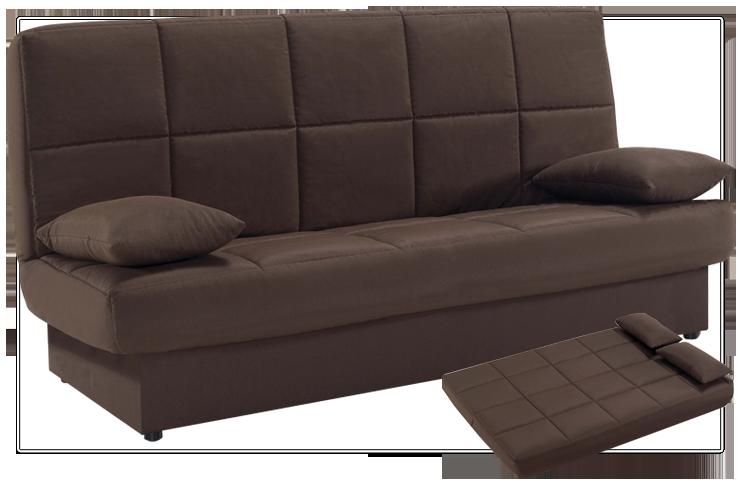 Sofá cama estilo clic-clac en color marrón