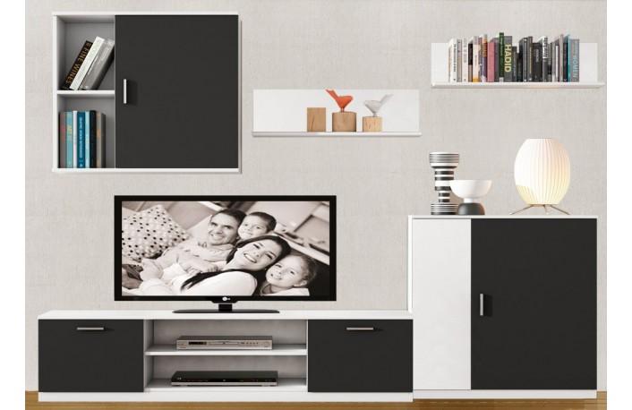 Salón blanco y negro de melamina con diseño moderno