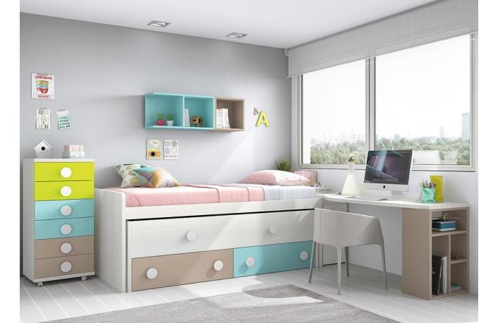 Cama compacta con nido, cajonera y escritorio