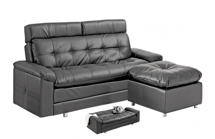 Chaiselongue cama con tapizado capitoné color negro