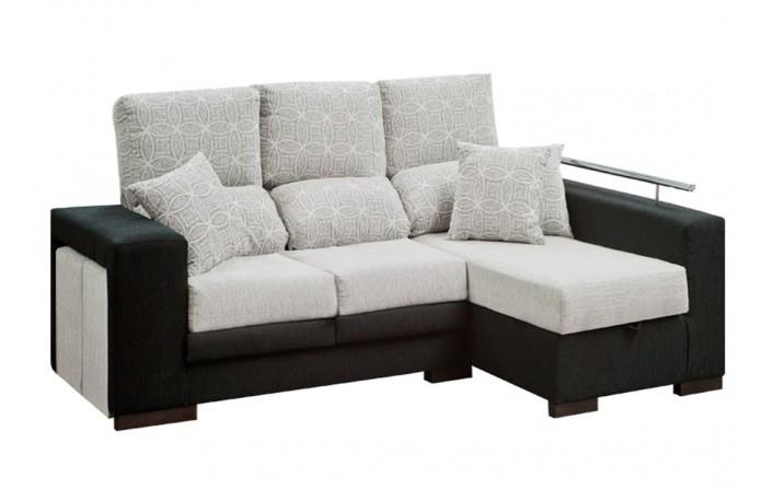 Cheslong de tela moderno con asientos reclinables