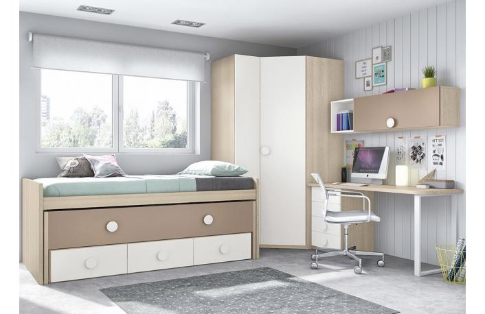 Dormitorio juvenil moderno en camel y crema