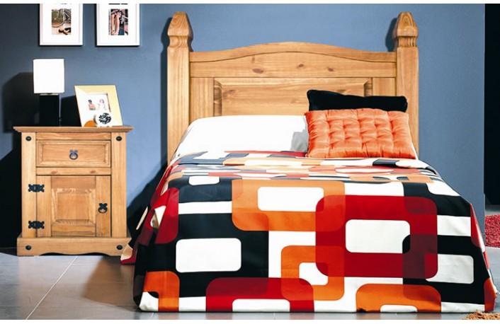 Cabecero cama juvenil y mesita de madera estilo rústico
