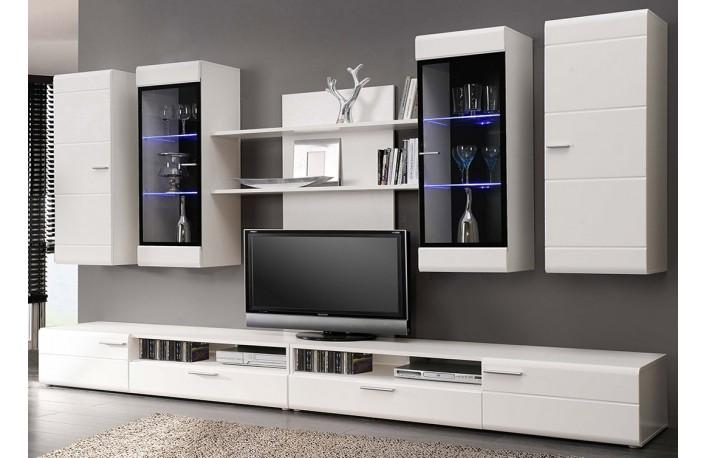 Conjunto muebles de salon en blanco y luces led
