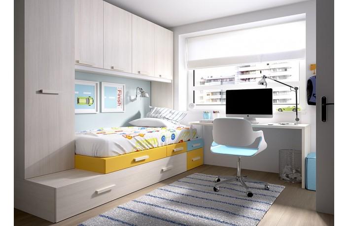 Dormitorio puente con escritorio para habitación juvenil