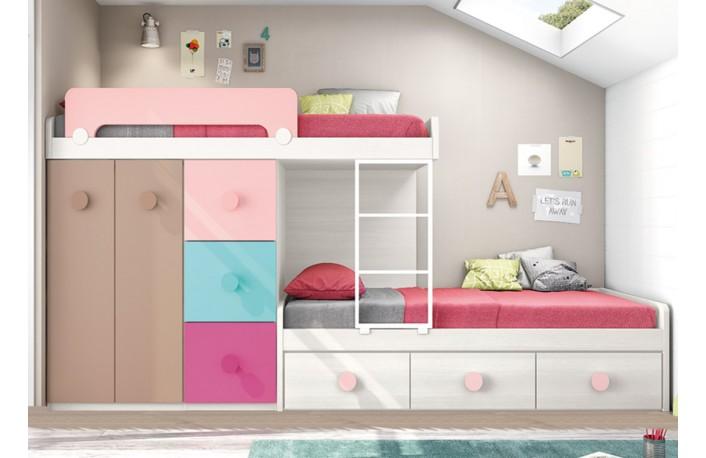 Cama tren original con cama nido y cajones en tonos pastel