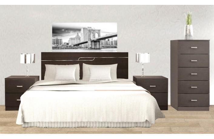 Cabecero de cama con dos mesillas estilo minimalista