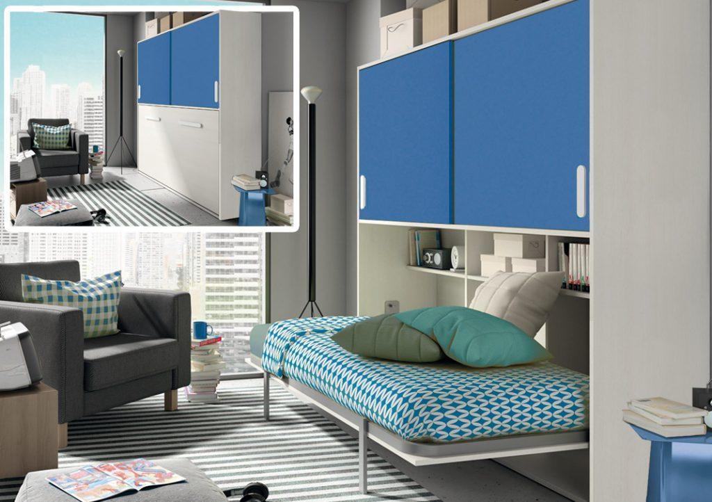 Dormitorio juvenil cama en armario