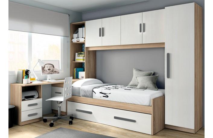 Dormitorio juvenil puente estilo moderno de melamina