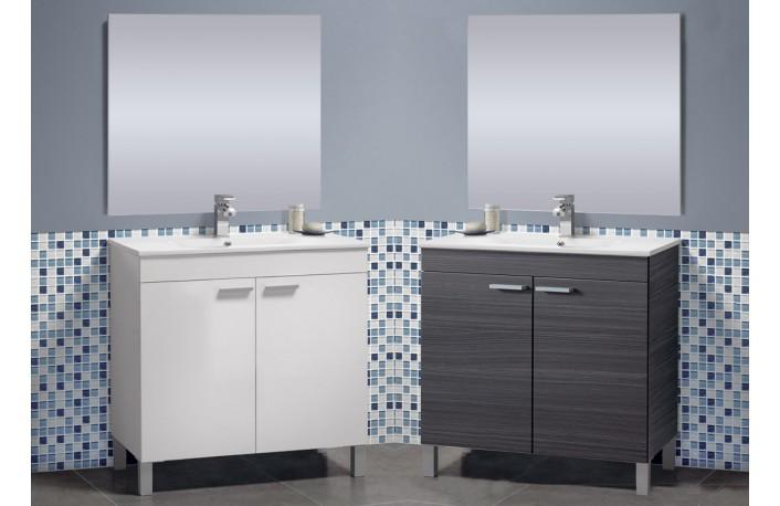 Mueble de baño moderno con espejo color blanco o ceniza