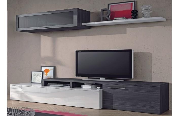 Muebles de salón modernos en blanco y gris ceniza