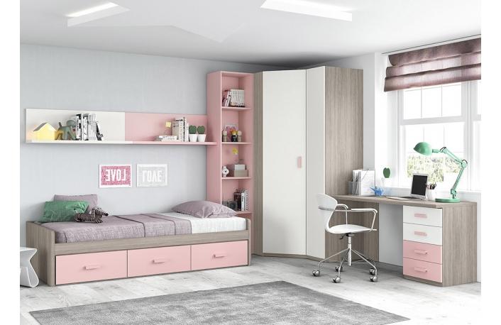 Cama nido, armario esquinero con estantería y escritorio