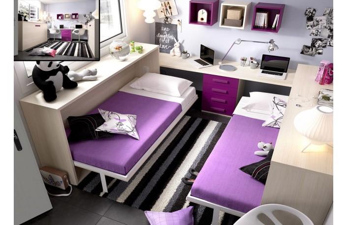 Camas abatibles horizontales con escritorio y cajonera