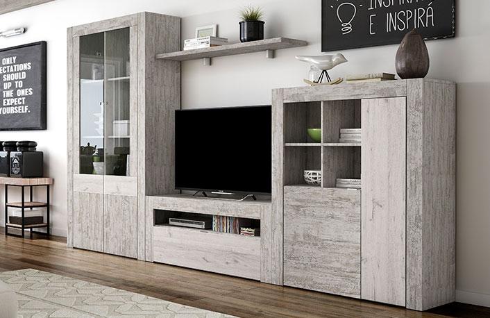 Mueble de salón modular efecto vintage y vitrina