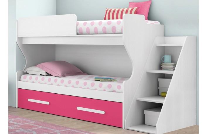 camas-nido-estanterias-blancas-rosas