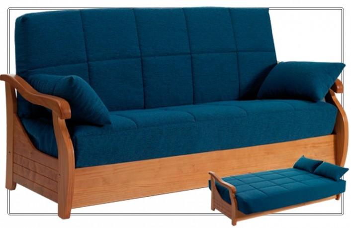 Sofá cama clic clac con arcón tapizado en tela