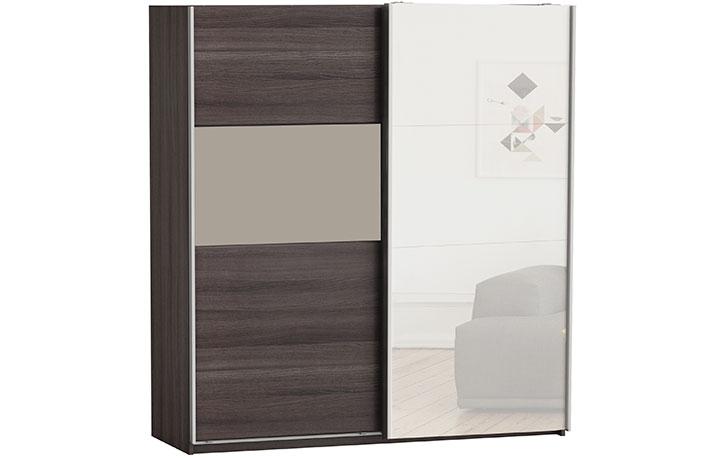 Armario 2 puertas correderas bicolor con espejo