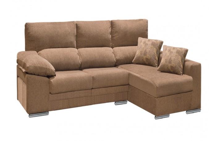 Sofá con chaiselongue tapizado en tela con puffs