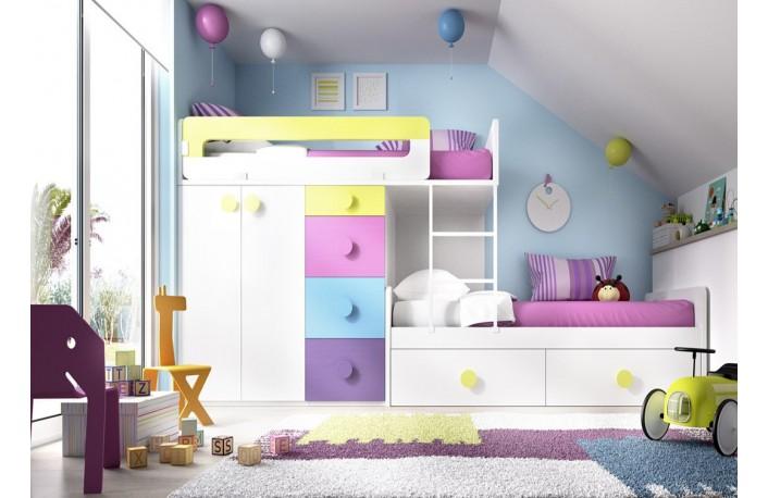Litera tren de colores con cama nido y cajonera