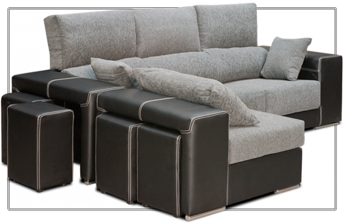 Sofá chaiselongue de piel sintética y tela
