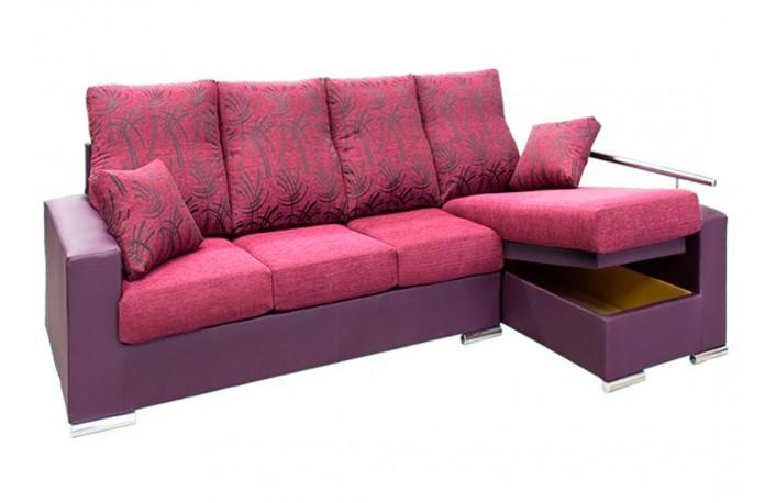 Chaise longue de tela y polipiel con arcón abatible