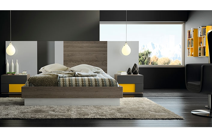 Dormitorio moderno acacia gris mostaza