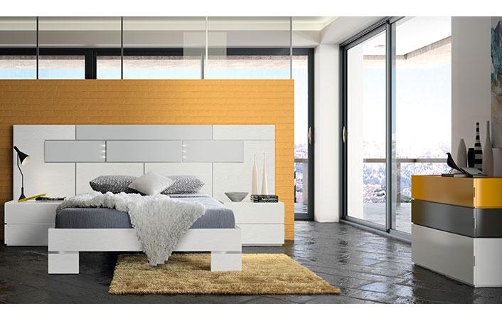 Dormitorio moderno blanco gris mostaza