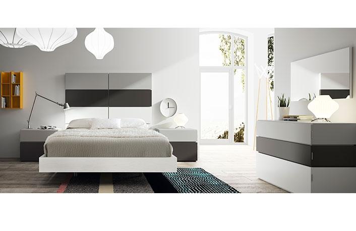 Dormitorio moderno blanco gris pizarra