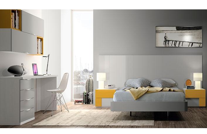Dormitorio moderno con mesa blanco gris mostaza
