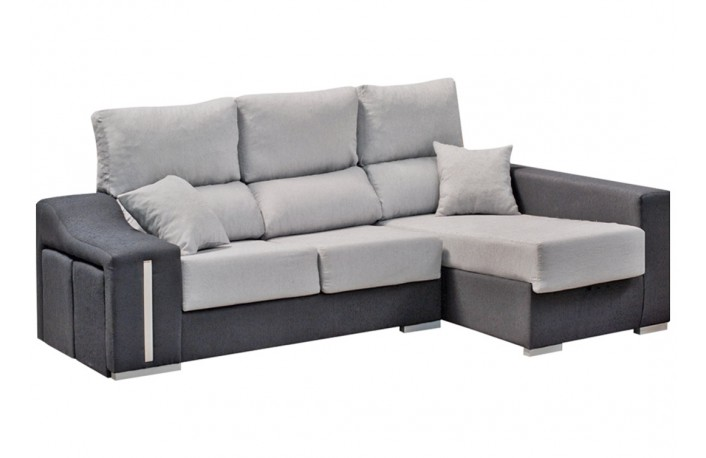 Cheslong con puffs y asientos reclinables y extraíbles