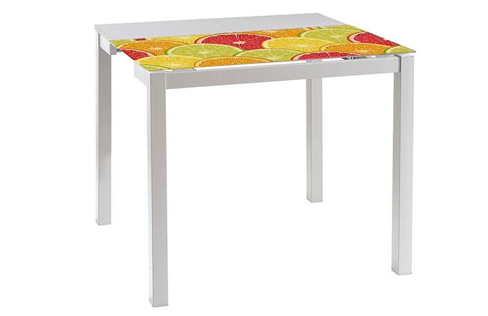 Mesa extensible madera y cristal serigrafiado