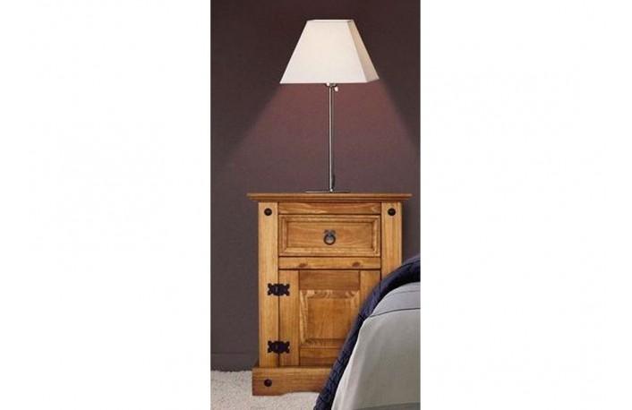 Mesita de noche de madera maciza y estilo rustico