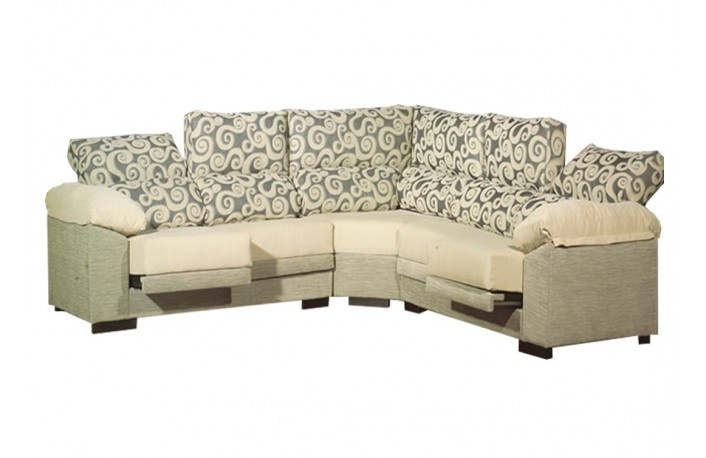 Sofa esquinero de 7 plazas reclinable tapizado en tela
