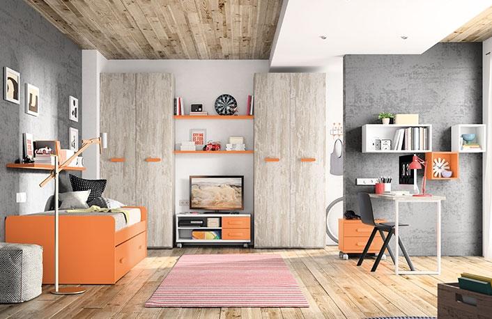 Dormitorio juvenil blanco calabaza