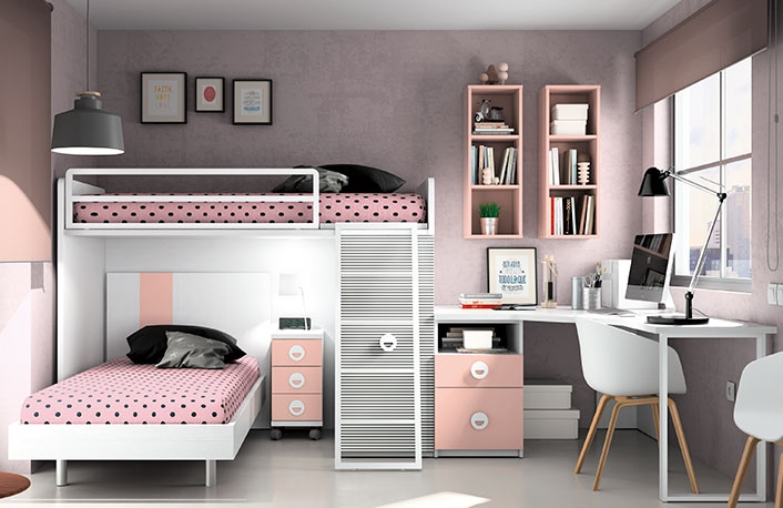Dormitorio juvenil blanco rosa
