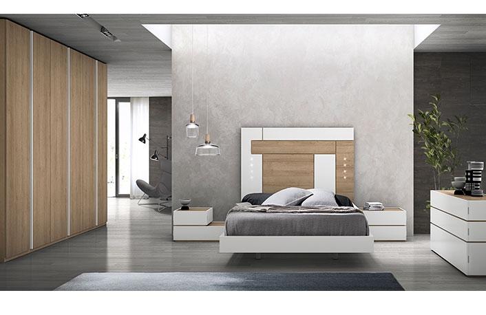 Dormitorio moderno con armario 6p nogal blanco