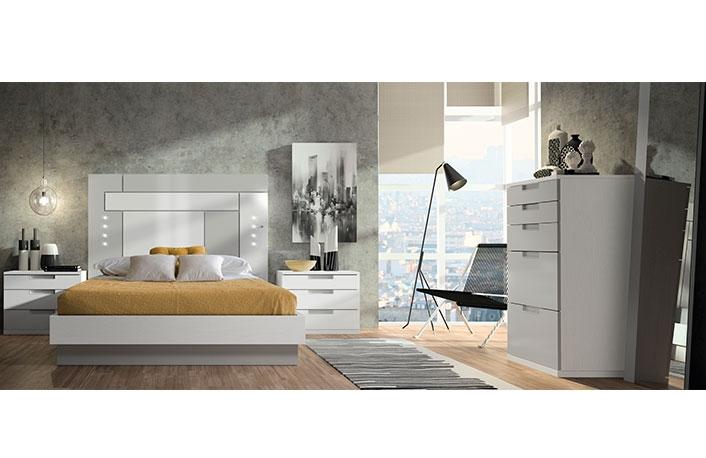 Dormitorio moderno con sinfonier blanco gris