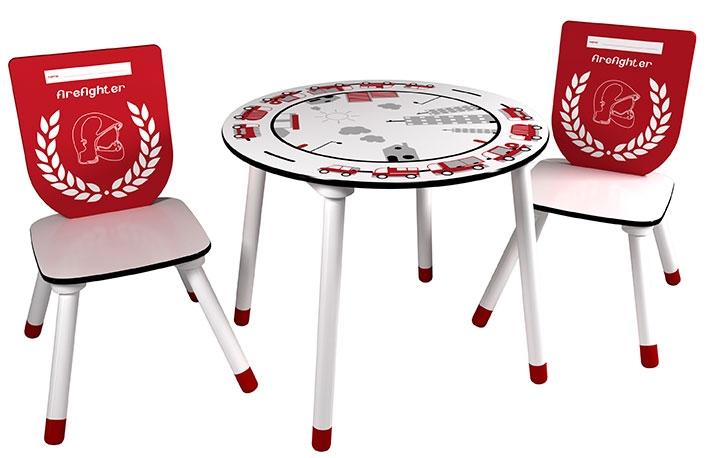 Set mesa y 2 sillas bomberos