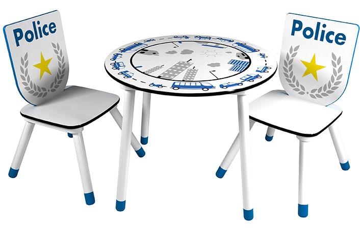 Set mesa y 2 sillas policia