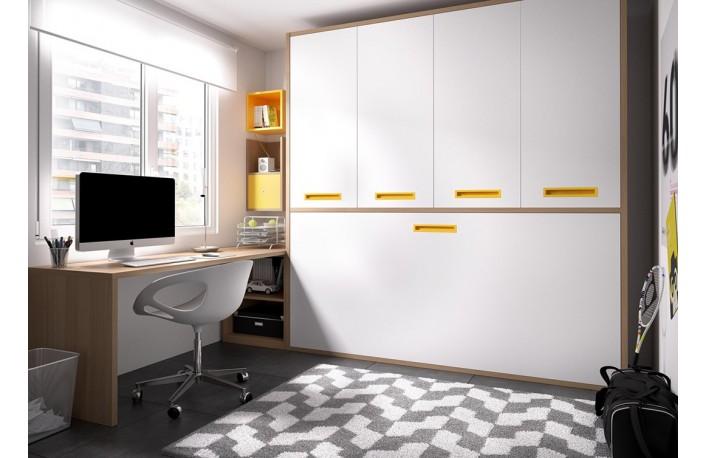 Cama abatible horizontal con armario y escritorio
