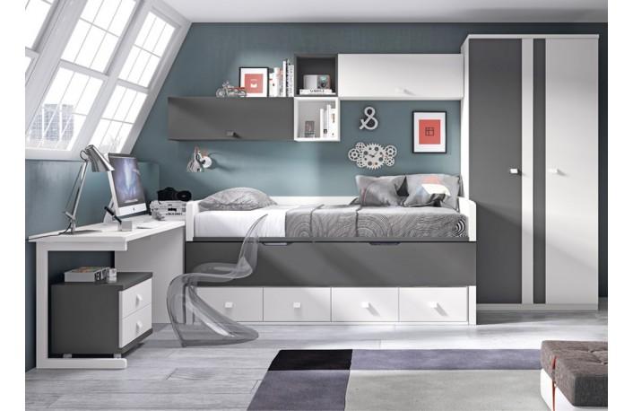 Dormitorio juvenil blanco y gris varios colores