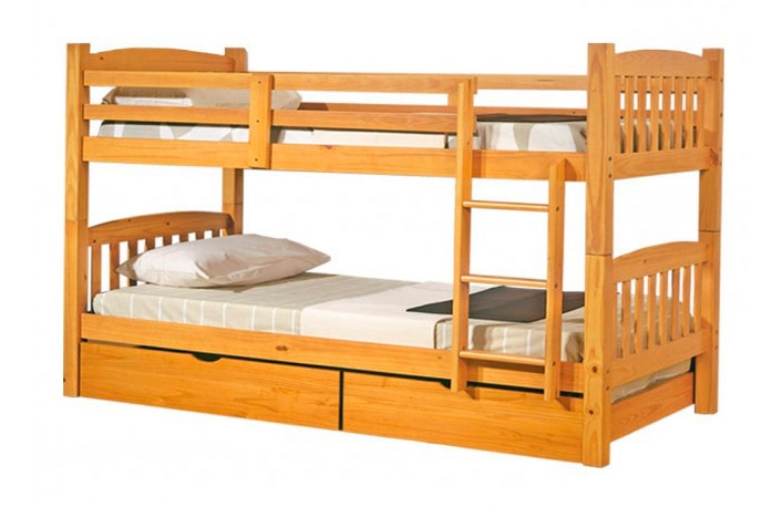 Litera de madera convertible en dos camas color miel