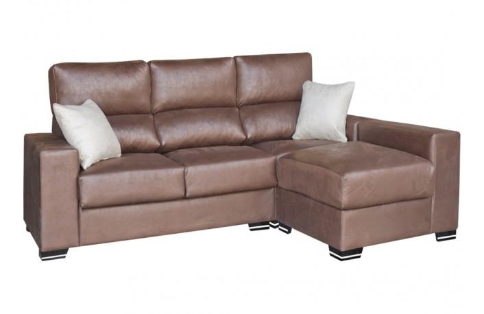 Sofa 3 plazas de piel sintetica con puff opcional