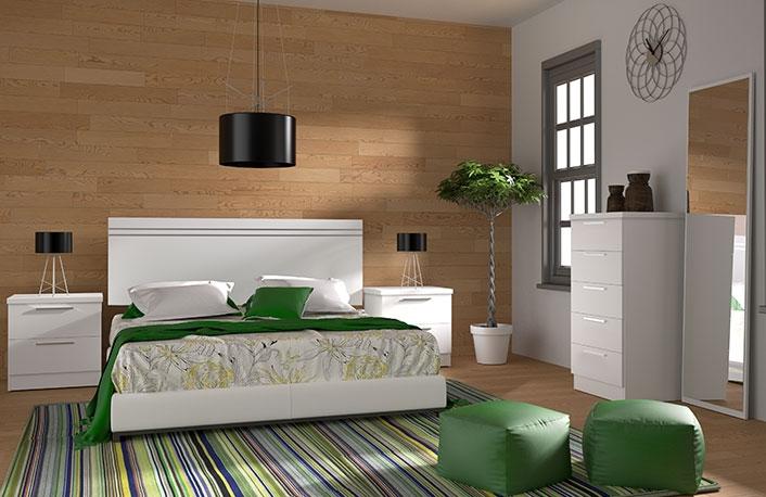 Dormitorio matrimonio cabecero corto y sinfonier