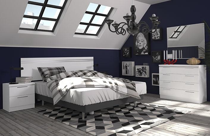 Dormitorio matrimonio cabecero largo y comoda