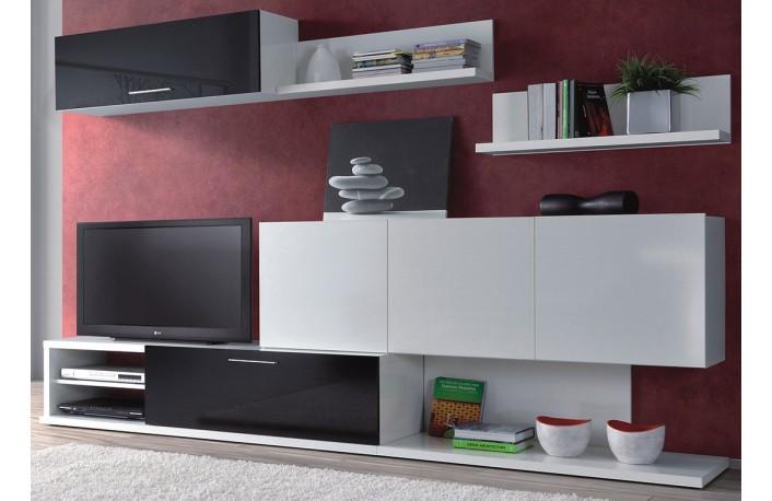 Mueble de salon en blanco y negro estilo moderno