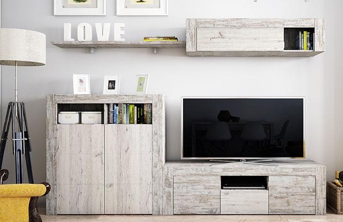 Muebles de salon vintage con aparador y mueble tv