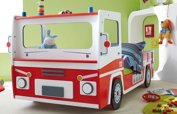 Cama forma camion rojo
